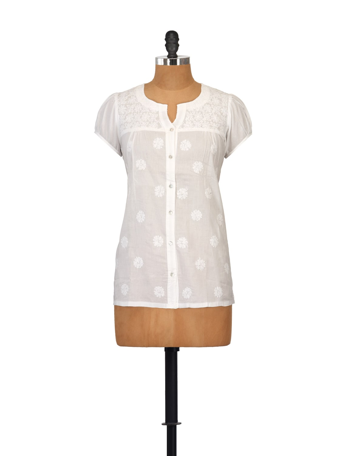White Buttoned Down Embroidered Shirt - Go Lucknow