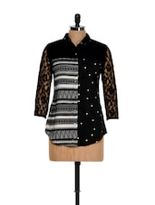 Printed Black Shirt With Lacey Shoulders - Eavan