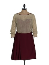 Maroon Skater Dress With A Beige Cotton Lace Top - Eavan