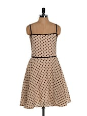 Cute Polka-dotted Skater Dress With Noodle Straps - Eavan