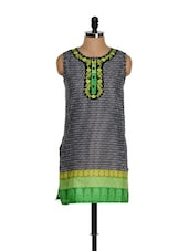 Black And Green Kurti With Thread Embroidered Placket - Eavan