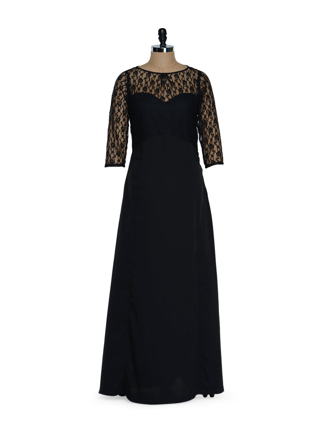 Black Long Dress With Polyester Lace Shoulder And Neck Detailing - Eavan