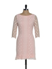 Baby Pink Cotton Lace Bodycon Dress With A Deep Cut Back - Eavan