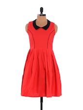 Red And Black Collared Neck Skater Dress - Xniva