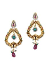 Gold Heart Shaped Dangler Earrings With Crystals And Acrylic Beads - AAKSHI