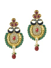 Colourful Peacock Dangler Earrings With Kundan, Crystals And Beads - AAKSHI