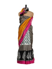 Bhagalpuri Silk Saree-Grey & Red - Purple Oyster