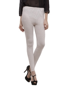 White And Black Printed Leggings - Being Fab