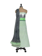 White And Green Printed Cotton Suit With Embroidered Yoke - Paakhi