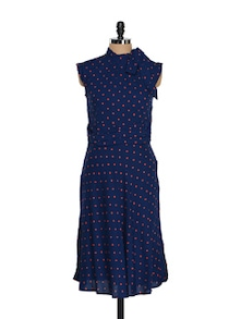 Blue Dress With Red Polka Dots. - AKYRA