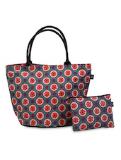 Red And Turquoise Floral Print Bag With Pouch - YOLO - You Only Live Once