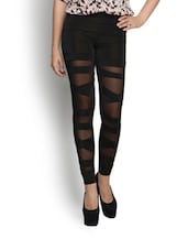Criss Cross Half Translucent Black Leggings. - N-Gal