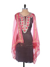 Coffee Brown Linen Kurta With Pink Embroidery On The Placket And Sleeves,  Pink Dupatta - Krishna's