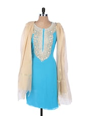 Sky Blue Georgette Kurta With An Embroidered Placket And Sleeves,  Cream Dupatta - Krishna's