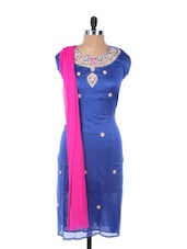 Blue Linen Kurta With Embroidery, Gota Work On The Neck And Sleeves , Pink Dupatta - Krishna's