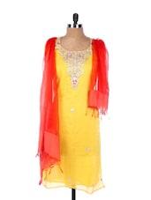 Yellow Linen Kurta With Embroidery, Gota Work On The Placket And Sleeves, Transparent Orange Dupatta - Krishna's