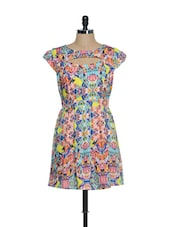 Multi-coloured Printed Skater Dress With A Cut-out Back - Oranje