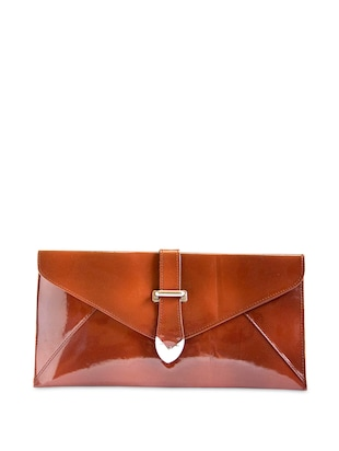 Glossy tan leatherette Clutch