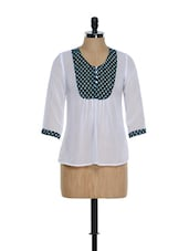 White Transparent Georgette Top With Green Heart Print Placket - House Of Tantrums