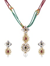 Colourful Kundan And Faux Pearls Necklace With Earrings Set - KSHITIJ