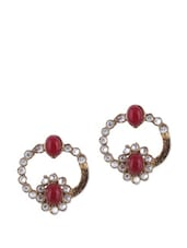 Red And White Kundan Earrings - KSHITIJ