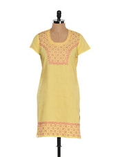 Yellow Cotton Kurta With Fuschia Pink Embroidered Work - Go Lucknow