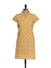 Mustard Kurti With Embroidered Jaal - Go Lucknow