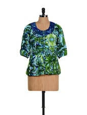 Leafy Green Top With Lace Panel At The Neck - Ayaany