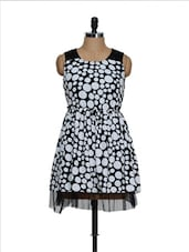 Black And White Polka Dot Cotton Knit Top With  A Net Base - RADICAL