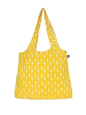 Yellow And White Printed Tote Bag - Be... For Bag