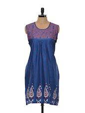 Berry Blue Paisley Printed Cotton Kurti - SHREE