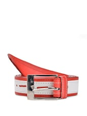 Red And White Faux Leather Belt With A Metal Buckle - QUEST