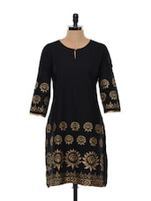 Black And Golden Block Printed Cotton Kurta - SHREE