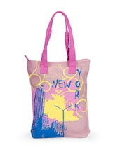 Stylish Pink New York Print Jute Tote Bag - Greenobag