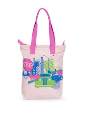 Stylish Pink Canvas Tote Bag With Car Prints - Greenobag