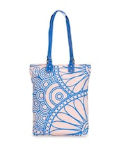 Lovely White Tote With Blue Floral Print - Greenobag