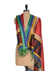Red Printed Tussar Silk Dupatta - Inara Robes