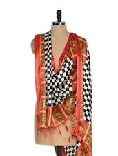Buddha Print Checkered Tussar Silk Dupatta - Inara Robes