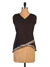 Black V-neck Top With Animal Print Hem - Miss Chase