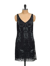 V-Neck Net Shift Dress - RENA LOVE