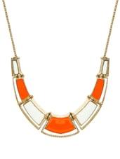 Orange Enamel Chunky Collar Necklace - Fayon