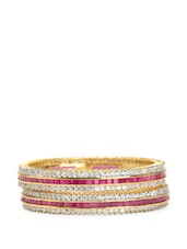 Gold Plated American Diamond Studded Bangles (set Of 2) - ESmartdeals