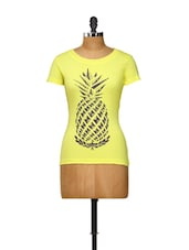 Pineapple Print Bright Yellow Top - Yepme