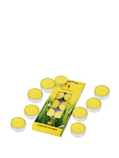 Set Of 10 Yellow Citronella Scented Tea Lights - Fragrance World India