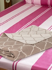 Beige And Off-white All Over Pattern Cotton Knit Baby Blanket - Pluchi