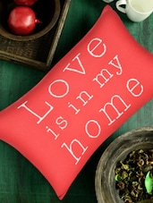 Red 'love Is In My Home' Cotton Knit Pillow Cover - Pluchi