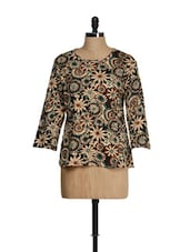 Brown Jersey Knit Top With Beige Floral Prints - Feyona