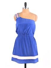 Ink Blue One Shoulder Dress - Aaliya Woman