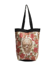 Trendy Multi-coloured Floral With Skull Print Tote Bag - The House Of Tara