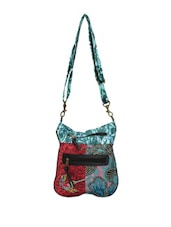 Blue And Red Floral Print Cross-body Bag - Art Forte